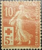 France Y&T N°147 Semeuse 10c +5c Rouge Neuf* - France