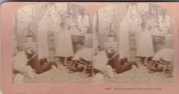 STEREO PHOTO  KILBURN YEAR 1899 / WHERE IN CREATION S THAT COLLAR BUTTON - Stereoscopic
