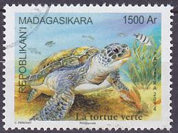 Timbre Oblitéré N° 1907(Yvert) Madagascar 2014 - La Tortue Verte - Madagaskar (1960-...)