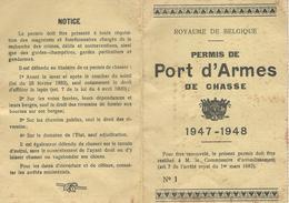 PERMIS PORT ARMES DE CHASSE - 1947-1948 - Arrondissement Philippeville - Commune Frasnes Lez Couvin - Documenti Storici