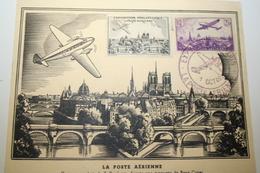 AVIATION  CM Carte Maximum TP PA N° 10 CPA Paris CPA Duplessis  MF A1 Cote 230.00€ Expo Poste Aérienne 1943 + Vignette - 1940-49