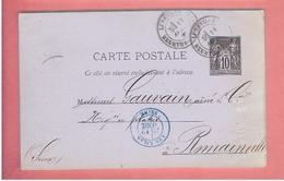 LUNEVILLE 1881 ENTIER POSTAL POUR M. GAUVAIN A ROMAINVILLE LES LILAS SEINE SAINT DENIS CARTE EN BON ETAT - Luneville