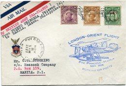 "PHILIPPINES LETTRE VIA AIR MAIL AVEC CACHET ILLUSTRE "" LONDON-ORIENT FLIGHT Pto PRINCESA - MANILA NOV. 1928 BUREAU OF.."" - Philippinen"