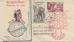 LAOS - FDC - ANNEE MONDIALE DU REFUGIE AVEC OBLITERATION SPECIFIQUE - 1960 - Laos