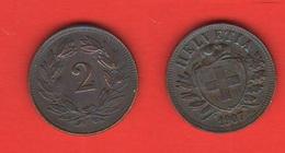 2 Rappen 1907 Svizzera Suisse Switzerland Schweiz Helvetia - Suisse