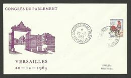 Enveloppe Illustrée / Cachet CONGRES DU PARLEMENT - VERSAILLES Séance Du 20.12.1963 / Coq Decaris - Covers & Documents