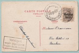 Postkaart Van TURNHOUT Naar Berchem 1917 - Censuurstempel En Duitse Stempel VERZÖGERT....... - Guerre 14-18