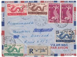 1952 - LETTRE RECOMMANDÉE COVER De SAIGON VIETNAM Avec SÉRIE DRAGONS HANG-KHONG BUU-CHINH Pour PARIS VIET-NAM - Vietnam