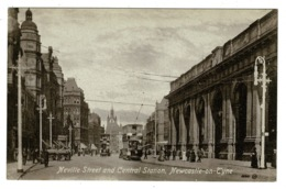Ref 1363 - 1916 WWI Postcard - Trams Neville Street & Central Station - Newcastle On Tyne - Northumberland - Newcastle-upon-Tyne