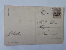 """Timbre 3 Deutsches Reich Belgien 3 Cent Sur Carte """" Bonne Et Heureuse Année """" Envoyée Vers Burdinne ... Lot110 . - [OC1/25] Gen.reg."""