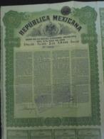 MEXIQUE - REPUBLQUE MEXICAINE - BON DETTE EXTERIEURE 4% 1910 - OBLIGATION 195 $ MEXICAIN - DECO - Shareholdings