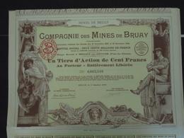 FRANCE - 62- BRUAY 1939 - LOT DE 4 TITRES - CIE DES MINES DE BRUAY - UN TIERS D'ACTION DE 100 FRS - BELLE DECO - Shareholdings
