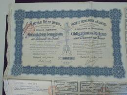 HONGRIE - BUDAPEST 1909 - LOT DE 3 TITRES - STE HONGROISE DE CUIVRES - OBLIGATION DE 400 COURONNES - Shareholdings