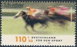 "5170  Hippisme: Timbre D'Allemagne, Yv 1865 (1999) Spécimen ""Muster"" - Overprint On Equestrian Sport Stamp. Horse Cheval - Horses"