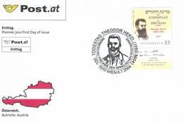 Theodor Herzl Mit Tab - Judenstaat - Wenn Ihr Wollt Ist Es Kein Märchen - FDC - 1945-.... 2. Republik