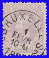 COB N° 36 - Belle Oblitération - BRUXELLES - 1883 Léopold II