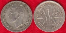 """Australia 3 Pence 1949-1951 Km#44 """"George VI"""" Silver - Monnaie Pré-décimale (1910-1965)"""