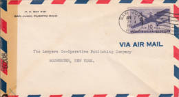 ETATS-UNIS - PORTO RICO - 1944 - Lettre Par Avion De San Juan (Porto Rico) Pour Rochester - Ouvert Par La Censure - United States