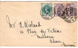 GRANDE BRETAGNE - 1900 - Lettre Pour Mulhouse, Alsace, Germany (Allemagne) - Covers & Documents