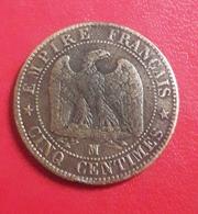 """Rare Atelier MA Belle Côte Pièce 5 Centimes Napoléon III 1853 """"MA"""" Qualité TTB - Monedas & Billetes"""
