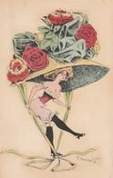 CPA Femme Lady Women Glamour Mode Chapeau Immense Hat Illustrateur G. MOUTON (2 Scans) - Other Illustrators