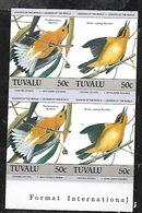 TUVALU 1985 AUDUBON BIRDS SETENANT 50c BLOCK IMPERFORATED MNH - Tuvalu