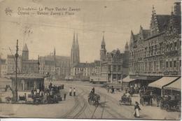 REF1260/ PC-Pk Oostende-Ostende  La Place Vander Zweep Aux Environs De 1923 Chevaux - Paarden Buggy Fiacre Animée - Oostende
