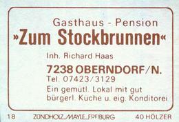 """1 Altes Gasthausetikett, Gasthaus – Pension """"Zum Stockbrunnen"""", Inh. Richard Haas, 7238 Oberndorf/N. #800 - Matchbox Labels"""