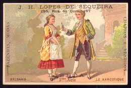 Cartão Publicidade Loja Rua Ouro LISBOA. Chromo BALSAMO / NARCOTIQUE Theatre. Old Victorian Trade Card VTC Portugal 1880 - Cromo