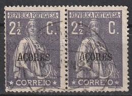 Açores Portugal, 1912 - Ceres -|- Afinsa 154 - Pair/ Paire - 2 1/2 C. - Azores