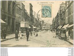 50 CHERBOURG. La Poste Rue De La Fontaine 1907 Et Triporteur Vente De Glaces - Cherbourg