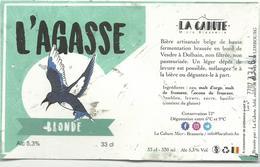 Etiquette Décollée Bière L'agasse Blonde Brasserie La Cahute Limbourg - Bière
