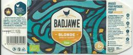 Etiquette Décollée Bière Badjawe Blonde Brasserie Cooperative Liégeoise - Beer