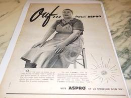 ANCIENNE PUBLICITE OUF MERCI ASPRO EN TABLIER OU ROBE DE SOIR 1956 - Publicidad