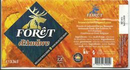Etiquette Décollée Bière Forêt D'ambre Brasserie Forêt Poulseur - Bière