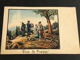 Allemagne 1890/1910 Rare Et Unique Entier Postal Peint Main Aquarelle Signé E.Biegel Vive La France Petite œuvre D'art - Brieven En Documenten