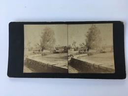 1891 Photo Privée Carte Stéréoscopique Stéréo Wissant Bassin Du Moulin Du Herlen - Wissant