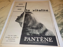 ANCIENNE PUBLICITE LA VITALITE DES CHEVEUX PANTENE 1956 - Perfumes & Belleza