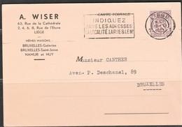 """België.  Postkaart Perfin """"AW"""", A. Wiser - Perfins"""