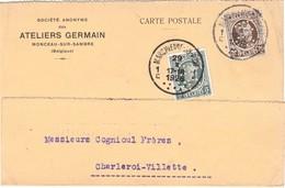 """België.  Postkaart Perfin """"AG"""", Ateliers Germain.  (zeldzaam) - Perfins"""