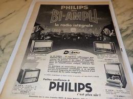 ANCIENNE PUBLICITE RADIO INTEGRALE BI AMPLI PHILIPS  1956 - Radio & TSF