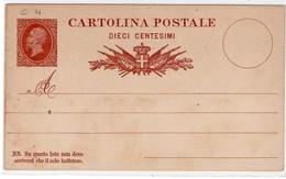 """1878 - CARTOLINA POSTALE """" EFFIGE REALE """" C 4 NUOVA VEDI++++ - 1861-78 Vittorio Emanuele II"""