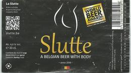 Etiquette Décollée Bière Slutte Brasserie Grain D'orge Hombourg - Bière