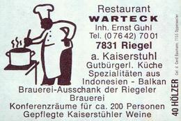 1 Altes Gasthausetikett, Restaurant Warteck, Inh. Ernst Guhl, 7831 Riegel A. Kaiserstuhl #801 - Matchbox Labels