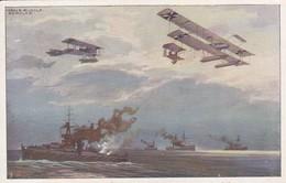 AK Wasserflugzeuge über Der Englischen Flotte - Prof. Schulze - Luftflotten-Verein -  (50334) - War 1914-18