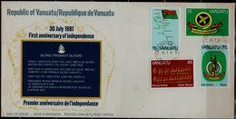 VANUTAU 1981 FDC FIRTS ANNIVERSARY OF INDEPENDENCE MI No 609-12 VF!! - Vanuatu (1980-...)
