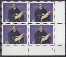 "BRD  1193, 4erBlock Eckrand Rechts Unten, Postfrisch **, Formnummer ""1"", Martin Luther 1983 - Ungebraucht"