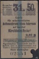 Karte Für Wöchentliche Aufbewahrung Eines Fahrrads Auf Dem Bahnhof Kirchheim (Neckar), 31. Woche 1950, 0,50 DM - Europa