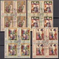SCHWEIZ 1372- 1375, 4erBlock, Gestempelt, Pro Patria: Schweizer Minnesänger 1988 - Pro Patria