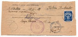 1949 YUGOSLAVIA,CROATIA,DONJA STUBICA,PARCEL RECEIPT,2 DIN POSTAGE DUE - Portomarken